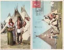 INDIEN - INDIAN -  Indien Gros Ventre - Lot De Deux Cartes - White And Yellow Cow And His Wife ; A Gros Ventre Camp - Etats-Unis