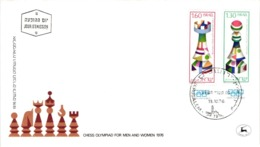 Chess Schach Echecs Ajedrez - Jerusalem. Israel 1976_Chess Olympiad For Men And Women_FDC CKM 551 - Schach