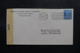 ETATS UNIS - Enveloppe De Philadelphia Pour La Suisse En 1945 Avec Contrôle Postal - L 47620 - Marcophilie