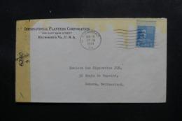 ETATS UNIS - Enveloppe De Richmond Pour La Suisse En 1944 Avec Contrôle Postal - L 47621 - Marcophilie