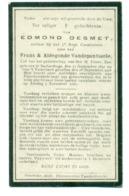 WO1 / WW1 - Doodsprentje Desmet Edmond - Zarlardinge / - Gesneuvelde - Obituary Notices