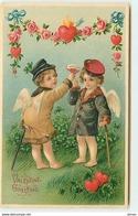 N°2984 - Carte Gaufrée - Valentine Greeting - Angelots Trinquant - Valentijnsdag
