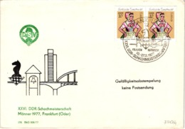 Chess Schach Echecs Ajedrez - Frankfurt. DDR 1977_26th DDR Championship_Souvenir Cover_CKM 7704 - Schach