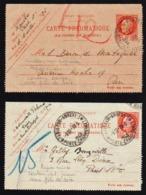 FRANCE Entiers Postaux (Guerre 1914/18) Lot RARE De 2 Entiers Postaux, Cartes Pneu. De 3F.............. - Pneumatiques