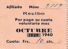 España. Cupon Phalanx Tradicionalista Español. C.N.S Tánger. 10 Cts. Recibo 1940 - Tickets - Entradas