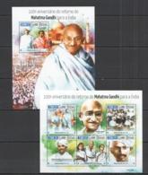 SS759 2015 GUINE GUINEA-BISSAU ANNIVERSARY RETURN MAHATMA GANDHI TO INDIA KB+BL MNH - Mahatma Gandhi