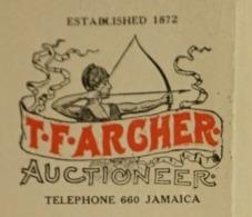 USA 1916 T F ARCHER Auctioneer Commissaire Priseur Jamaica New York Tir à L' Arc Flèche Bow Arrow Bogen Archery - Etats-Unis