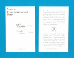 Cartes Parfumées Carte GENTLE FLUIDITY  MAISON FRANCIS KURKDJIAN  RECTO VERSO - Perfume Cards