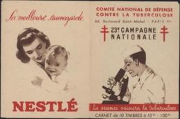 Comité National De Défense Contre La Tuberculose Carnet De 10 Vignettes Publicité Nestlé - Commemorative Labels
