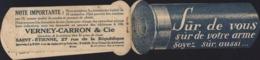 Publicité France Cartouche Fusil De Chasse Sûr De Vous Sûr De Votre Arme Soyez Sûr Aussi Verney Carron 42 Loire - Werbung