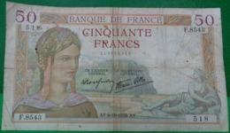 FRANCE BILLET 50 FRANCS CERES Type Modifié , AY 6-10-1938.AY .  ALPHABET F.8543 N° 518  . OLD BANK NOTE - 50 F 1934-1940 ''Cérès''
