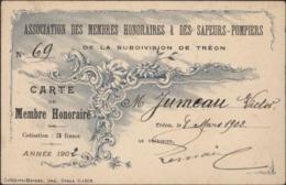 Association Membres Honoraires Et Sapeurs Pompiers Subdivision Tréon Carte Membre Honoraire 1902 - Cartes