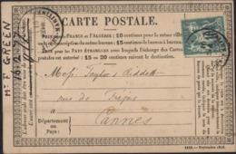 YT Sage N/B N° 65 Date Manuscrite 16 2 77 CAD Alpes Maritimes 16 Fe Seul Sur Carte Précurseur Cote Timbre 45 € - 1877-1920: Période Semi Moderne