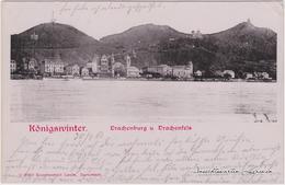 Ansichtskarte Königswinter Blick Auf Die Stadt Mit Burg Drachenfels 1903  - Koenigswinter