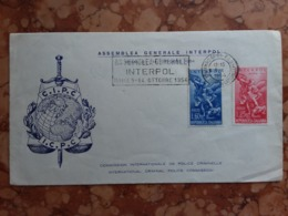 REPUBBLICA - Assemblea Generale Interpol - Roma 1954 - Annullo 1° Giorno + Spese Postali - 6. 1946-.. Republic
