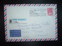 LETTRE Par Avion Pour La FRANCE TP M. DE BEQUET 0,80 3BBP OBL.MEC.19-7 1976 974 ST DENIS RP + HOTEL ST FRANCOIS - Storia Postale