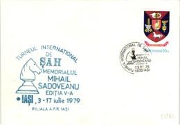 Chess Schach Echecs Ajedrez - Iasi. Romania 1979_5th International Tournament_Sadoveanu Memorial_Souvenir Cover_CKM 7939 - Schach