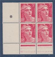 = Marianne De Gandon En Bloc De 4 Timbres Neufs Sans Gomme Avec Pont De Feuille Et Millésime 8 N°716 Rose 3f - 1945-54 Maríanne De Gandon