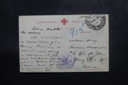 ETATS UNIS - Carte De La Croix Rouge Américaine Pour La France En 1919 Avec Cachet De Contrôle - L 47719 - Marcophilie