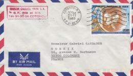 BENIN. LETTRE, COVER. PAR AVION. OVERPRINT. UAPT PHILEXAFRIQUE III SPORTS 190F/250F. COTONOU TO FRANCE - Benin - Dahomey (1960-...)