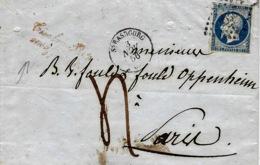 1856- Lettre De STRASBOURG ( Bas Rhin ) Cad T15 Affr. N°14 TAXE 4 D  Avec Griffe Rouge - Marcophilie (Lettres)