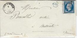 1857- Lettre De Blanzy-s-Bresle ( Seine Mari. Cad T15 Affr. N°14 ( Bord De Feuille ) Pc 406 / OR Bleu De Bouillenevard - Marcophilie (Lettres)