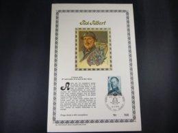 """BELG.1974 1704 FDC Philacard (FR) Soie /lettres D'or /tirage Limité A 400 Ex. :   """"Albert I """" - FDC"""