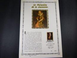 """BELG.1975 1779 FDC Philacard (FR) Soie /lettres D'or /tirage Limité A 400  :  """" Philatelie De La Jeunesse"""" - FDC"""