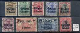 [801714]TB//O/Used-c:100e-Belgique 1915, OC1/9, Surcharge 'Belgien + Valeurs En Centimes', Dont Obl Concours, 1F/80pf */ - WW I