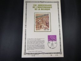 """BELG.1980 1961 FDC Philacard (FR) Soie /lettres D'or /tirage Limité A 400 Ex.  : """" Belgie/Belgique 150 Jaar/ans """" - FDC"""