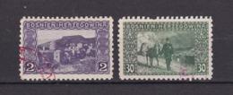 Bosnien-Herzegowina - Österreichische Besetzung - 1906 - Michel Nr. 30 C + 37 C - Gez. 9 1/4 - Stempel Rot - 75 Euro - Bosnien-Herzegowina