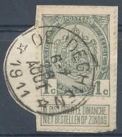 [43568]TB//O/Used-N° 81, Sur Petit Fragment, TB Obl Relais '* Oeudeghien *', Nipa +6? - 1893-1907 Wappen