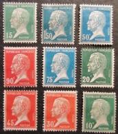 FRANCE PASTEUR Yt 170,171,172,173,175,176,177,178,181 NEUFS TRACES CHARNIERES - 1922-26 Pasteur