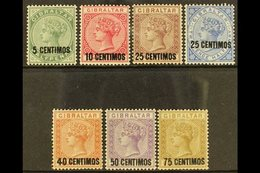 """1889 Spanish Currency Surcharge Set Complete, 25c With Short Foot To """"5"""" SG 15/21, Good To Fine Mint (7 Stamps). For Mor - Gibilterra"""