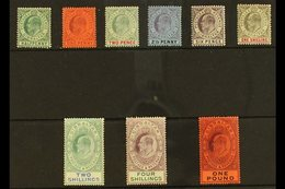 1904-08 Complete Definitive Set, SG 56/64, Mint, The 4s With Some Toned Perfs On The Back, Most Others Fine. (9 Stamps)  - Gibilterra