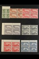 """1938-51 KGVI Pictorial Definitive """"Basic"""" Set, SG 121/31, In Never Hinged Mint Blocks Of 4. Includes ½d (SG 121), 1d Red - Gibilterra"""