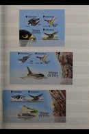 """1999-2003 """"FLIGHT"""" ISSUES 1999-2001 """"Wings Of Prey"""" Complete Sets In Singles, Miniature Sheets, And In Sheetlets Of Ten, - Gibilterra"""