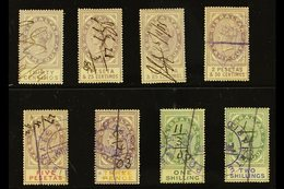 REVENUE STAMPS STAMP DUTY 1894 30c, 1p25, 1p85, 2p50 And 5p (Barefoot 1/2 & 4/6); Plus 1898 3d, 1s And 2s (Barefoot 10/1 - Gibilterra