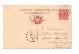 ITALIE ENTIER CARTE DE NAPOLI POUR LA FRANCE 1909 - 1900-44 Victor Emmanuel III