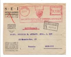 ITALIE BELLE EMA SUR LETTRE RECOMMANDEE DE TURIN POUR LA FRANCE 1934 - Affrancature Meccaniche Rosse (EMA)