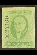 1856 2r Emerald Imperf Hidalgo With District Name, SG 3 Or Scott 3b, Fine Mint With Three Large Margins And Lovely Origi - Mexiko