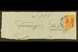 """1856 4r Red Imperf (Scott 4, SG 4), Used On Large Piece Tied By Indistinct Cancel, With """"Guadalajara"""" District Overprint - Mexiko"""