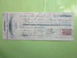 IMPRIMERIE Lithographique Typographique J.COQUEUGNIOT à AUTUN (71) Mandat 30/11/1901 Timbre Fiscal 5c 100F ET AU DESSOUS - France