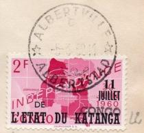 KATANGA - CONGO - ALBERTVILLE  - 2F Surch Type 2 - Obl Albertville C  5 Mars 1962  - UN5 - Katanga