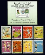 YEMEN 1988 BOY SCOUTS SPORT ARCHERY SCUBA BASKETBALL SET & M/SHEET MNH - Yemen