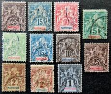 MARTINIQUE Type Sage Groupe Lot De 11 Timbres Oblitérés Used - Martinique (1886-1947)