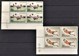 MONACO 1963 - 2 BLOCS DE 4 TP  N° 621 ET 622  NEUFS **  / COINS DE FEUILLES / DATES - Ongebruikt