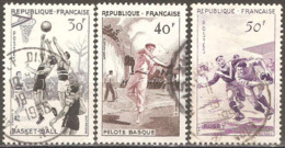 France - 1956 - Série Sportive - YT 1072 à 1074 Oblitérés - Frankreich