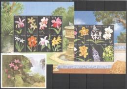 D643 NEVIS FLOWERS FLORA ORCHIDS !!! 2KB+1BL MNH - Orquideas