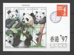 D644 1997 NEVIS FAUNA WILD ANIMALS PANDAS HONG KONG EXPO KB MNH - Bears